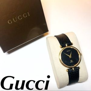 Gucci Watch Black Leather Gold Vintage GG Women's